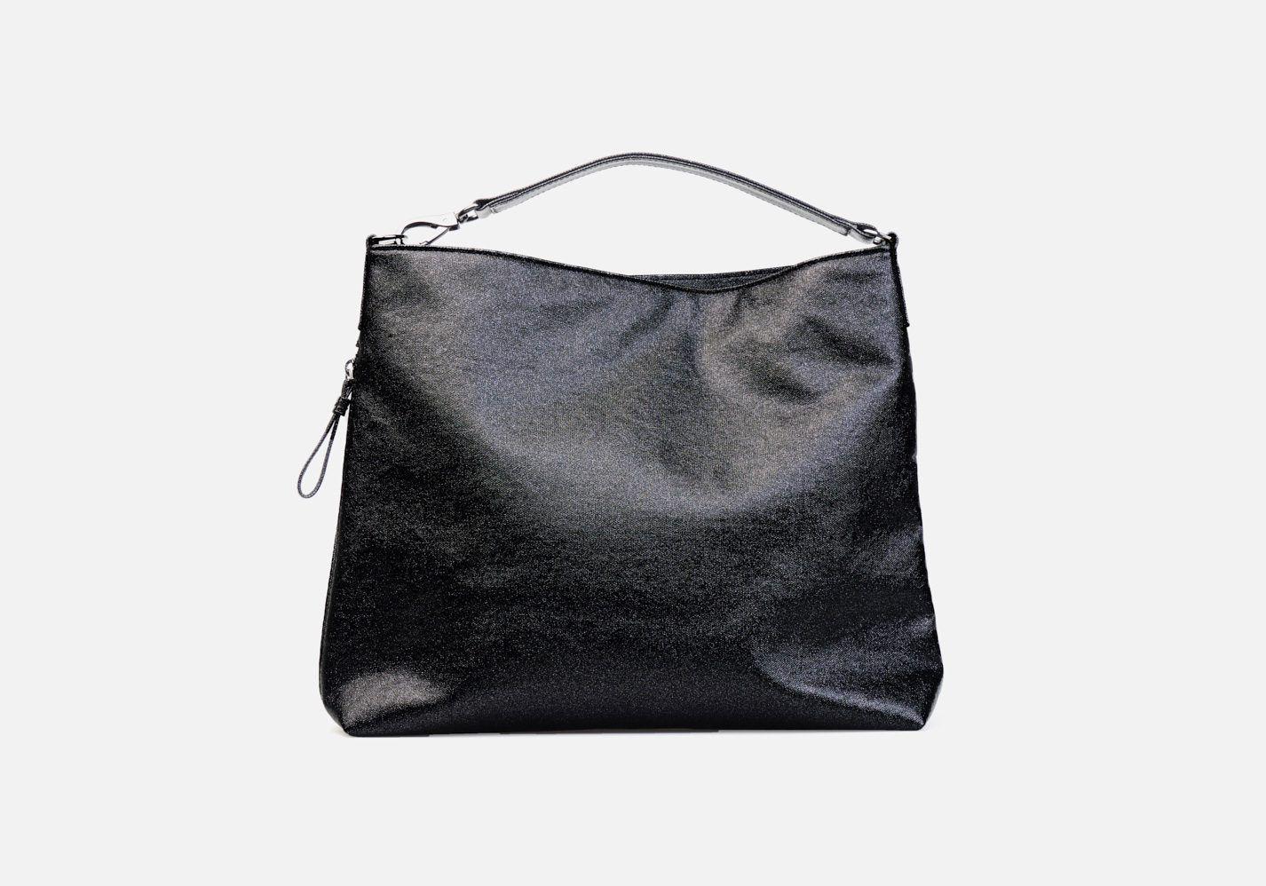 Bolso en tejido laminado con aspecto metalizado – Frontal modelo Beethoven en color negro