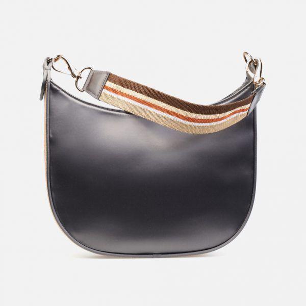 Bolso en tejido técnico satinado en gris plomo con cinteria a rayas. - Frontal modelo Caruso en color gris-plomo